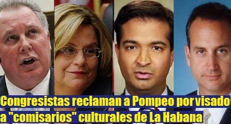 Congresistas reclaman a Pompeo por visado a comisarios culturales de La Habana