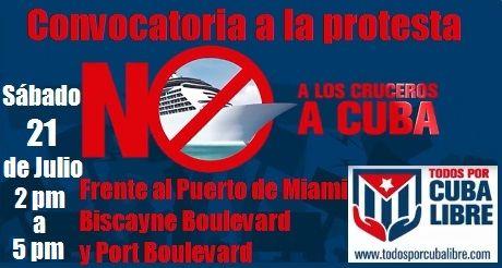 Convocatoria a la protesta en contra de los cruceros a Cuba