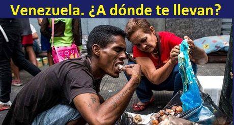 Venezolanos comiendo basura