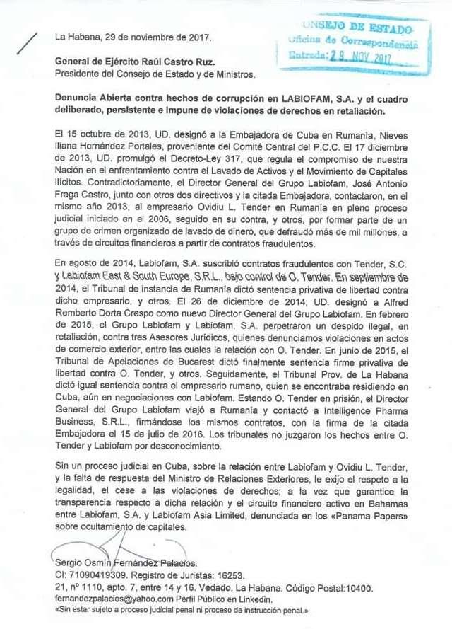 Denuncia enviada a Raul Castro