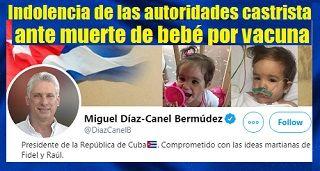Cuba: Indolencia de las autoridades castrista ante muerte de bebé por vacuna
