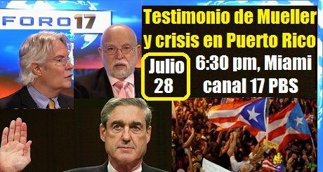 Invitación al programa Testimonio de Mueller y crisis en Puerto Rico