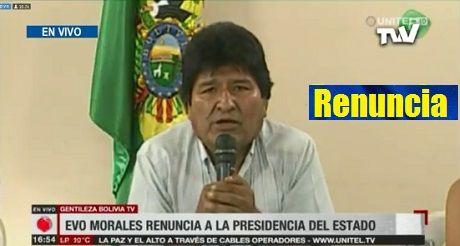 Renuncia Evo Morales Presidente De Bolivia