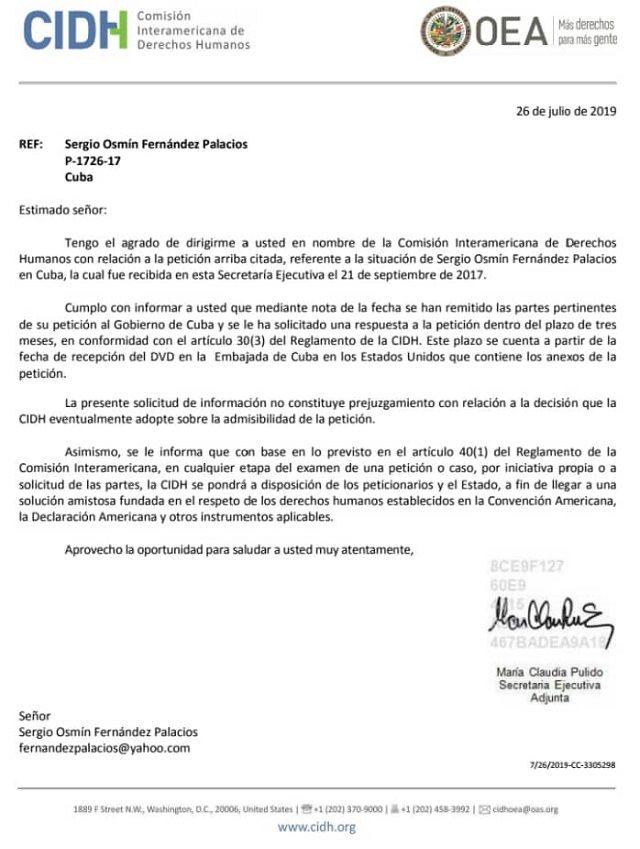 Respuesta enviada por Comision interamericana DDHH