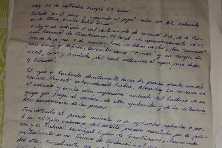Manuscrito De Roberto Quinones Prision De Guantanamo