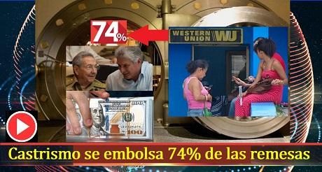 Castrismo se embolsa 74% de las remesas enviadas a Cuba
