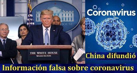 Trump: China difundió información falsa sobre coronavirus