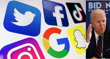 Empresas de tecnologia medios sociales mayores contribuyentes de Biden