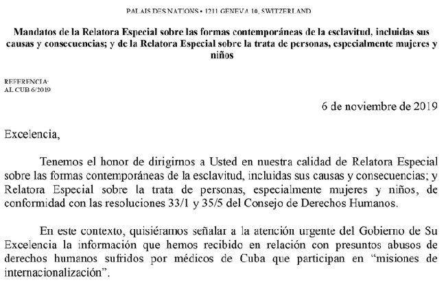 Informe de la ONU sobre atrocidades de misiones de medicos de Cuba