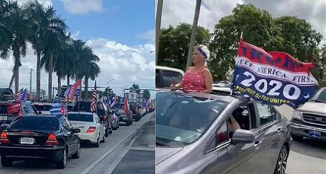 Mega caravana en Miami en apoyo a Trump