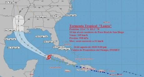Tormenta Laura volvio a entrar en territorio cubano