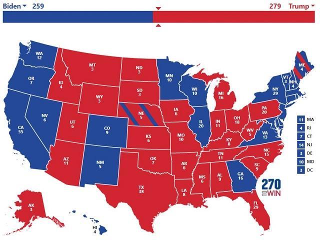mapa eleccion seria ganada por Trump