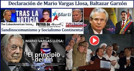 Declaracion de Mario Vargas Llosa Baltazar Garzon Sandinocomunismo Socialismo Continental