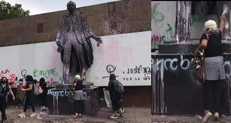 Jose Marti vandalizado por las feministas