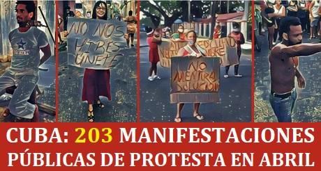 Mas de 6 protestas diarias en Cuba en abril
