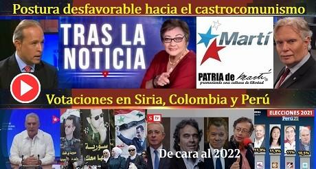 Postura desfavorable hacia el castrocomunismo votaciones en Siria Colombia Peru