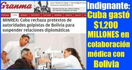 Cuba gastó $1200 MILLONES en colaboración médica con Bolivia