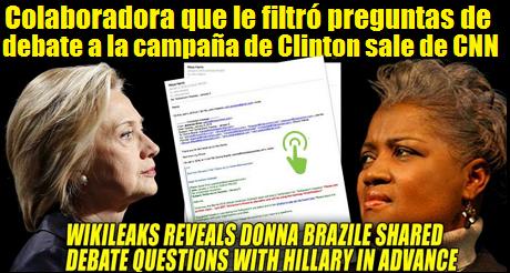 Donna Brazile filtro preguntas a Hillary CNN FB