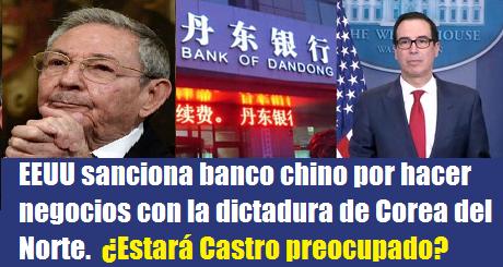 EEUU impuso sanciones a un banco chino por hacer negocios con la dictadura de Corea del Norte