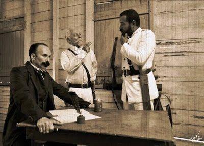 Jose Marti Maximo Gomez y Antonio Maceo reunidos bohio cubano