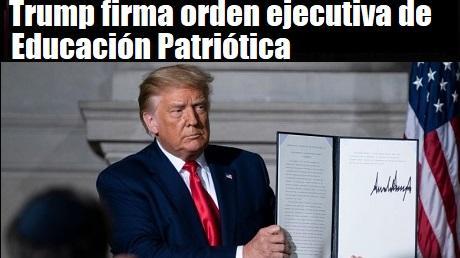 Trump firma orden ejecutiva de Educacion Patriotica