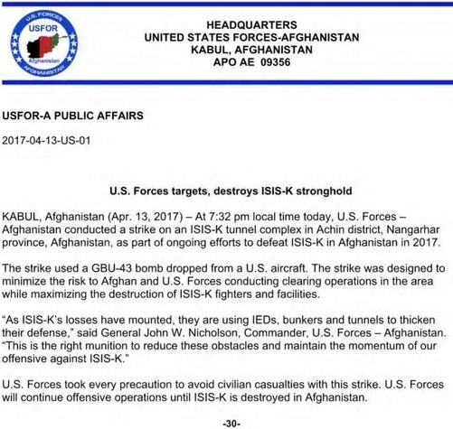 comunicado US Forces Afghaniftan