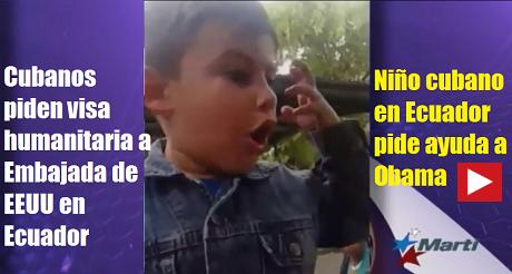 nino cubano pide ayuda a Obama Ecuador FB